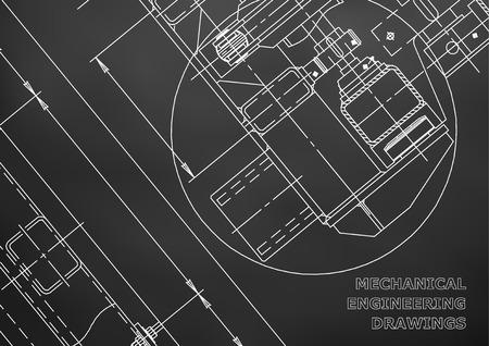 reconstruction: Mechanical Engineering drawing. Blueprints. Mechanics. Black