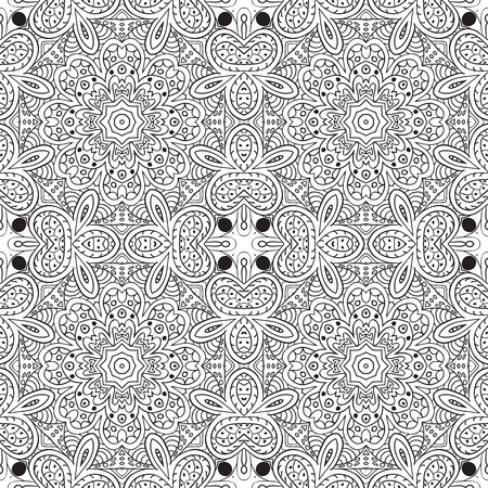 an example: Seamless pattern doodle ornament. Coloring Ethnic motives. Zentangl Illustration