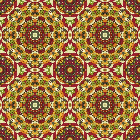 oriental rug: Mandala. Oriental pattern. Traditional seamless ornament. Turkey, Egypt, Islam. Relaxing picture. Doodle drawing. Red and orange colors