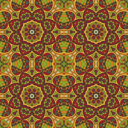 oriental rug: Oriental pattern. Traditional seamless ornament. Mandala. Turkey, Egypt, Islam. Relaxing picture. Doodle drawing. Red and orange colors Illustration