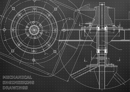 Mechanical engineering drawings. Vector. Black. Points