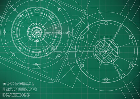 Mechanical engineering drawings. Vector background. Light green. Grid