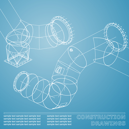 Drawings of steel structures. Pipes and pipe. 3d blueprint of steel structures. Background for your design. White and blue