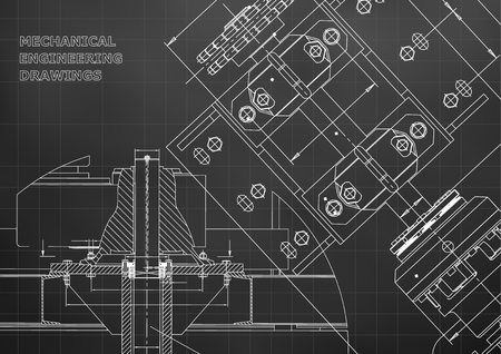 Blueprints. Mechanical construction. Technical Design. Engineering Cover. Banner. Black. Grid