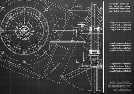 Mechanical engineering drawings. Vector engineering drawing. Black. Grid