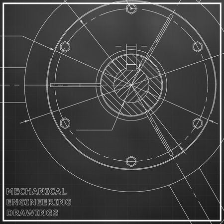 Mechanical engineering drawings. Engineering illustration. Black. Grid Vettoriali