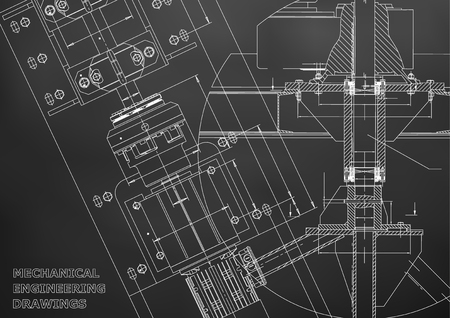 Blueprints. Mechanical engineering drawings. Technical Design. Cover. Banner. Black Vettoriali