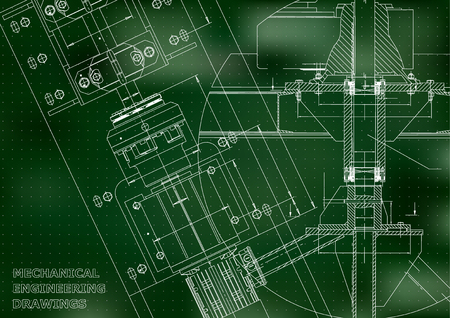 Blueprints. Mechanical engineering drawings. Technical Design. Cover. Banner. Green. Points Illustration