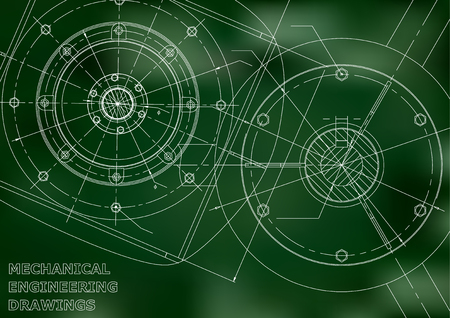 Mechanical engineering drawings. Vector background. Green 일러스트