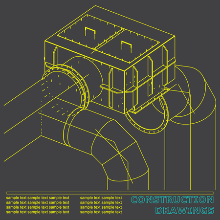 Drawings of structures. Pipes and pipe. 3d blueprint of steel structures. Gray