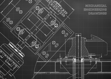 Engineering backgrounds. Technical Design. Mechanical engineering drawings. Blueprints. Black. Grid