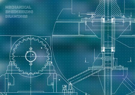 Blueprints. Costruzione meccanica. Illustrazioni di ingegneria. Disegno tecnico. Banner. Blu. Punti Vettoriali