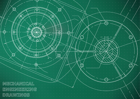 Mechanical engineering drawings. Vector background. Light green. Points