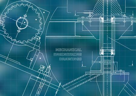Blueprints. Mechanical construction. Technical Design. Engineering illustrations. Banner. Blue. Grid Vectores