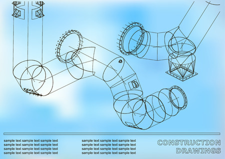 Drawings of structures of Pipes and pipe. 3d blueprint of steel structures. Cover, background for your design. White and blue Ilustração