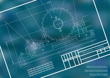 Mechanical drawings on a  white background. Engineering illustration. Frame. Blue. Points