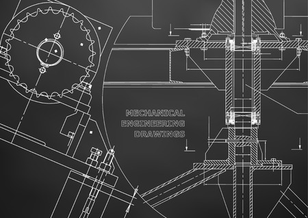 Blueprints of Mechanical construction. Technical Design. Engineering illustrations. Banner. Black