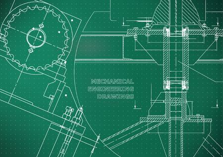 Blueprints Mechanical construction. Technical Design. Engineering illustrations. Banner. Light green. Points