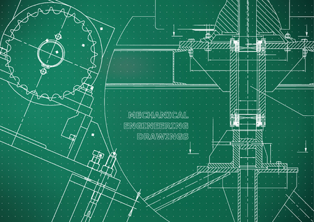 Blueprints Mechanical construction. Technical Design. Engineering illustrations. Banner. Light green. Points