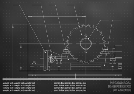 Mechanical drawings of Engineering illustration background. Black. Points  イラスト・ベクター素材