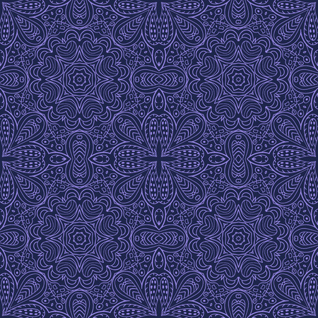 A Seamless background of Ethnic doodle blue motives.