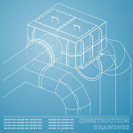 Drawings of structures. Pipes and pipe. 3d blueprint of steel structures. Blue and white Ilustração