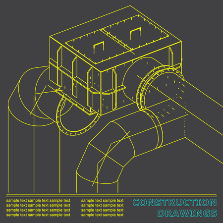 Drawings of steel structures. Pipes and pipe. 3d blueprint of steel structures. Gray