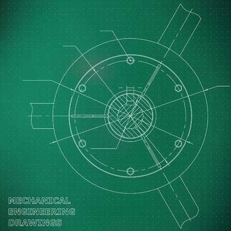 Mechanical engineering drawings. Engineering. Light green. Points