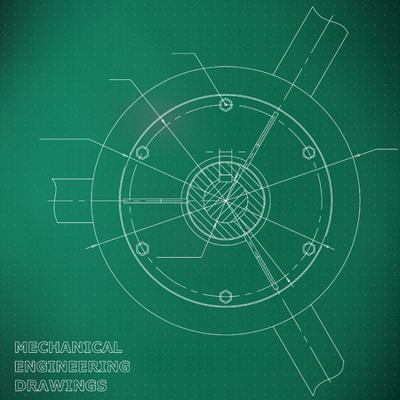 Mechanical engineering drawings. Engineering. Light green. Points
