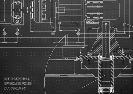 Engineering backgrounds of Mechanical engineering drawings. 矢量图像