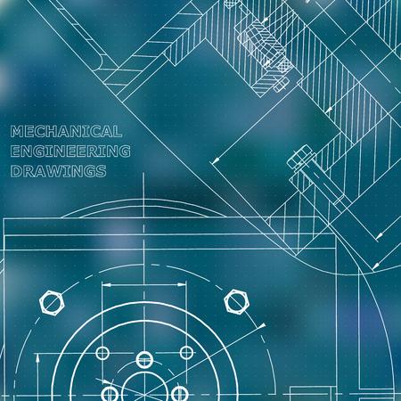 Meccanica. Disegno tecnico. Copertina, flyer, banner. Identità aziendale. Sfondo blu. Punti