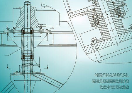 Mechanical engineering. Technical illustration. Backgrounds of engineering subjects. Technical design. Instrument making. Cover, banner, flyer, background. Corporate Identity. Light blue