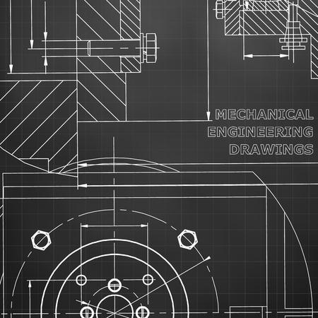 Mechanics. Technical design. Corporate Identity. Black background. Grid Ilustrace