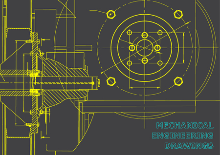 Technical illustration. Mechanical engineering. Backgrounds of engineering subjects. Technical design. Gray