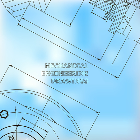 Mechanics. Technical design. Engineering style. Mechanical Corporate Identity. Blue
