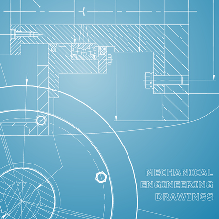 Backgrounds of engineering subjects. Technical illustration. Mechanical engineering. Technical design. Blue and white