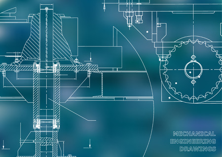 Blueprints. Mechanical engineering drawings. Cover. Banner. Technical Design. Blue