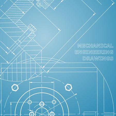 Mechanics. Technical design. Engineering. Mechanical Corporate Identity. Blue and white Ilustração