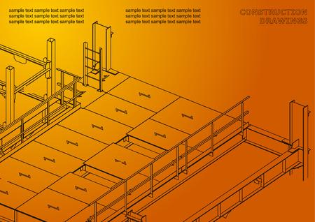 Building. Metal constructions. Volumetric constructions. 3D design. Abstract. Orange