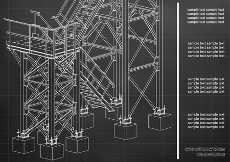 Building. Metal constructions. Volumetric constructions. 3D design. Abstract backgrounds. Cover, background, banner. Black background. Grid