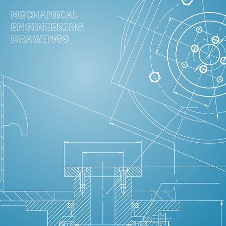 Mechanics. Technical design. Engineering style. Mechanical instrument making. Cover, flyer, banner. Blue and white