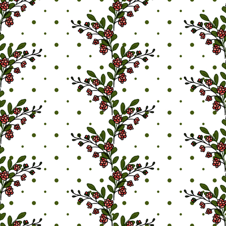 Floral seamless pattern. Pink inflorescence. Many leaves. Stripes of flowers on a white background. Background in polka dots