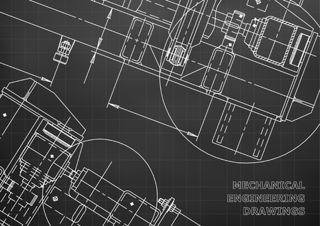 Mechanical Engineering drawing. Blueprints. Mechanics. Cover, background. Black. Grid