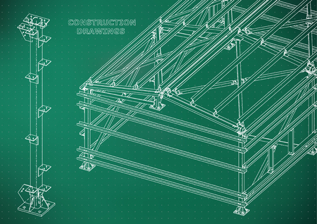 Building. Metal constructions. Volumetric constructions. 3D design. Abstract Cover, banner. Light green. Points
