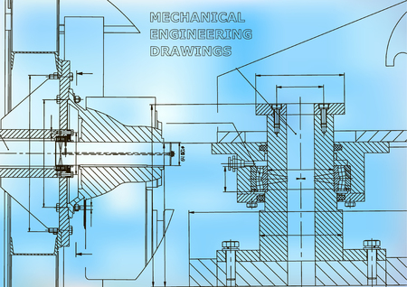Technical illustration. Mechanical engineering. Backgrounds of engineering subjects. Technical design. Instrument making. Cover, banner. Blue