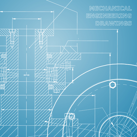 Backgrounds of engineering subjects. Technical illustration. Mechanical engineering. Technical design. Instrument making. Cover, banner, flyer, background. Blue and white