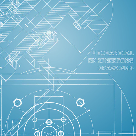 Mechanics. Technical design. Engineering style. Mechanical. Cover, flyer, banner. Corporate Identity. Blue and white