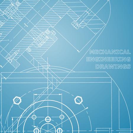 Mechanics. Technical design. Engineering style. Mechanical. Cover, flyer, banner. Corporate Identity. Blue and white Ilustração Vetorial