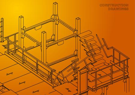 Building. Metal constructions. Volumetric constructions. Orange