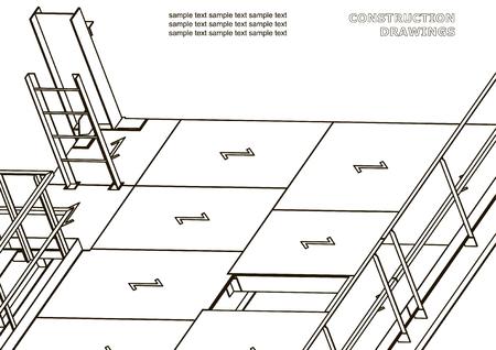 Building. Metal constructions. Volumetric constructions. 3D design
